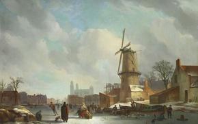 Картинка зима, пейзаж, картина, ветряная мельница, Развлечения на Льду на Городском Канале, Абрахам Йоханнес Кувенберг