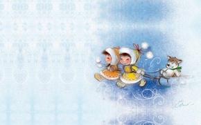 Картинка зима, дети, собака, арт, прогулка, санки, картинка, Екатерина Бабок, детска