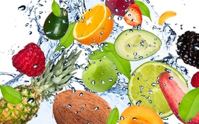 Картинка вода, капли, брызги, свежесть, малина, лимон, apple, яблоко, кокос, клубника, лайм, lemon, фрукты, ананас, банан, ...