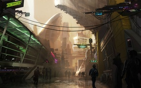 Картинка город, огни, будущее, люди, улица, здание, мегаполис
