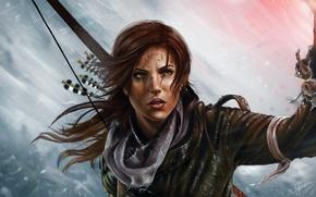Картинка взгляд, огонь, игра, лук, арт, факел, Tomb Raider, Lara Croft, девущка