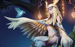 Обои перья, крылья, арт, сова, дерево, ночь, девушка, звезды