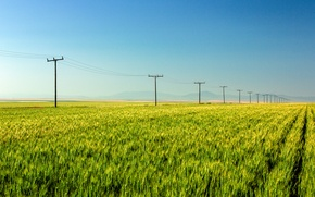 Картинка поле, горы, field, mountains, power line, линий электропередач