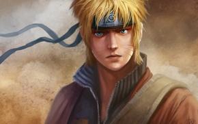 Картинка взгляд, ветер, повязка, эмблема, парень, Наруто, Naruto, art, naruto uzumaki, dantecyberman