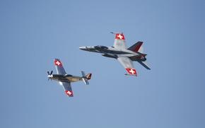 Обои FA-18, полет, P-51, истребители, Mustang, Hornet