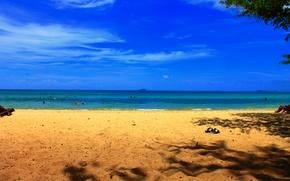 Картинка Песок, Море, Пляж, Тапки