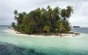 Картинка Sea, Island, Palms, San Blas Islands, Caribic