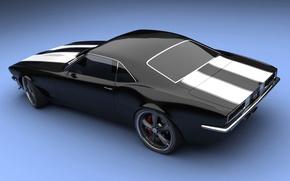Обои черный, Chevrolet, концепт-кар, Camaro SS