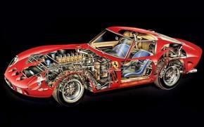 Обои ferrari 250, gto, 1962, двигатель, интерьер