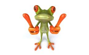 Картинка графика, лягушка, Free frog 3d, палецы