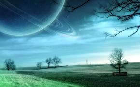 Обои поле, космос, деревья