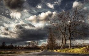 Обои дорога, небо, пейзаж