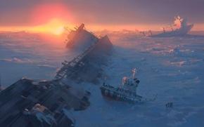 Картинка лед, море, снег, фантастика, океан, корабль, art, frozen, alexiuss, apocalypse