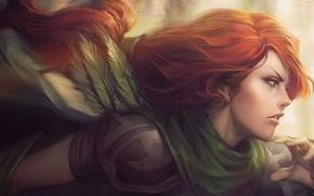 Картинка девушка, лучница, red, рыжая, hero, dota 2, windrunner, windranger