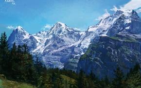 Обои склон, арт, горы, природа, деревья, рисунок, скалы, пейзаж, ледник