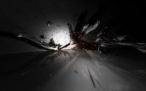 Обои осколки, взрыв, черный