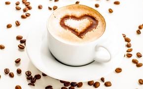 Картинка пена, сердце, рисунок, кофе, шоколад, зерна, чашка, белая, капучино, блюдце