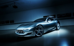 Обои Alfieri, Silver, Masearti, Supercar, Power, Front, Concept
