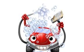 Картинка car, машина, пена, вода, пузырьки, абстракция, креатив, позитив, арт, красная, автомойка, персонаж, wallpaper., wash, good …