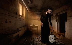 Картинка девушка, часы, череп, Broken time