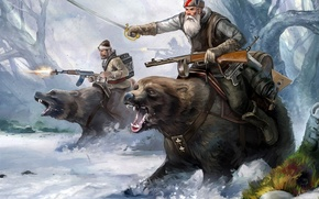 Картинка sword, forest, soldiers, trees, winter, snow, bears, musical instrument, machine guns, weapons of the second …