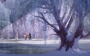 Картинка Frozen, Tree, Wide screen, White snow, Diseny