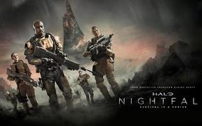 Обои звезды, оружие, фантастика, планета, сериал, боевик, бойцы, Halo: Nightfall, Halo: Сумерки