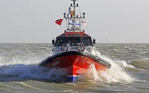 Картинка waves, sea, view, bow, port, pilot boat, radars, furuno