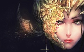 Картинка девушка, лицо, маска, арт