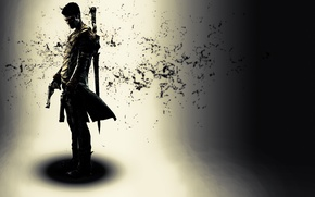 Картинка оружие, игра, тень, парень, Данте, DmC, Devil May Cry 5