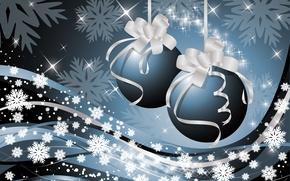 Картинка снежинки, ленты, звёздочки, ёлочные украшения