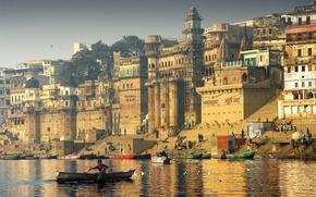 Картинка город, чайки, лодки, Индия