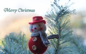 Картинка иголки, ветки, елка, Рождество, Новый год, снеговик