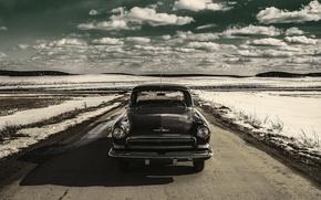 Картинка машина, ретро, фон, обои, СССР, автомобиль, классика, Волга, газ 21