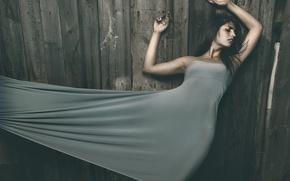 Картинка секси, поза, милая, доски, забор, Девушка, фигура, платье, брюнетка, girl, sexy, красивая, длинные волосы, long …