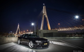 Картинка nissan, turbo, black, skyline, japan, bridge, jdm, tuning, gtr, speed, r34, nismo, godzilla