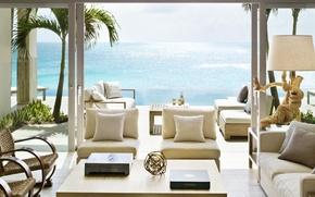 Картинка дизайн, стиль, океан, мебель, вилла, вид, интерьер, терраса