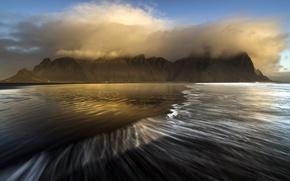 Картинка море, туман, берег, Vestrahorn Islande