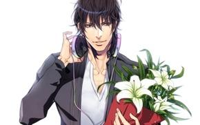 Обои аниме, парень, букет, цветы, наушники