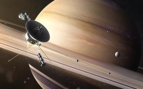 Картинка космос, фантастика, спутник, кольца, сатурн
