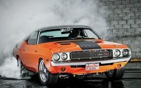 Картинка Burnout, Dodge, Challenger, Orange, 1970