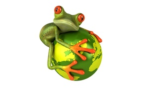 Картинка взгляд, графика, планета, лягушка, Free frog 3d