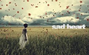 Картинка стиль, романтика, грусть, листья, alone, girl, настроение, поле, девушка, боль, осень, печаль, сожаление, ностальгия, sorrow, ...