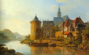 Картинка картина, живопись, painting, 1841, Cornelis Springer, A View of a Town along the Rhine