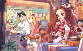 Картинка стол, кресло, печенье, телевизор, семья, окно, кухня, занавески, рыжая, neko, плюшевый медведь, уютный уголок, by …