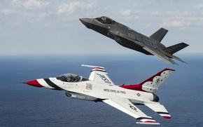 Картинка полет, истребители, F-16, Thunderbird, F-35A