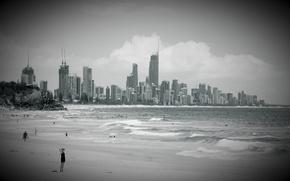 Картинка волны, пляж, небо, вода, облака, город, люди, океан, здания, рай, чёрно-белое, высотки, для, сёрферов, купаются