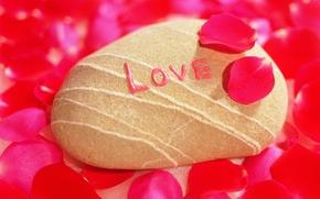 Картинка любовь, камень, лепестки, признание