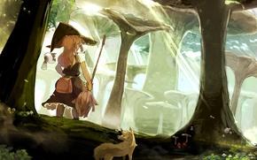 Картинка лес, ведьма, метла, touhou, kirisame marisa, летающая хрень сзади