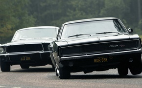 Картинка mustang, ford, black, dodge, muscle, power, charger, r/t, classic, america, racing
